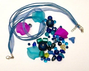 55 beads mix with organza necklace, blue, purple, green