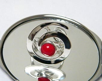 Modern, minimalist, Adjustable ring, silver plated metal, red jade cabochon