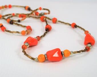 Vintage Orange Beaded Necklace Single Strand Orange Necklace Fall Necklace Orange Jewelry Fall Jewelry