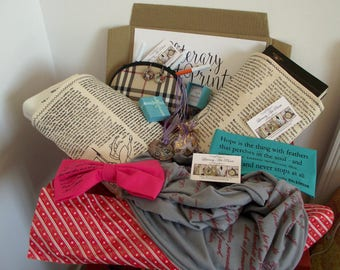 Literary Box Bookish Gifts Emily Dickinson Jane Austen Poems Book scarf  headband Necklace quotes Beautiful Book Sleeve Christmas Gift