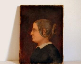 Oil painting portrait of woman XIXth century