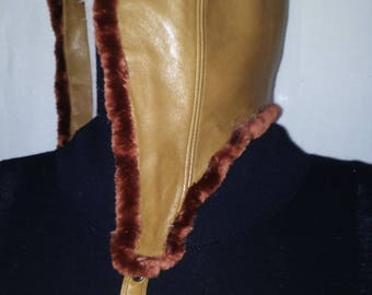 TAN LEATHER AVIATOR HAT