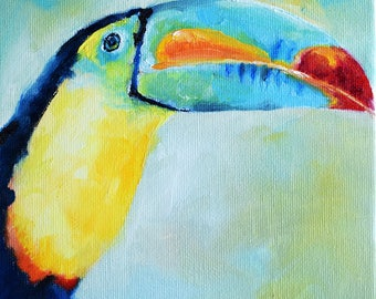 Impressionist Toucan Painting, Rainbow Colored Bird, Colorful Art 6x6 Inch