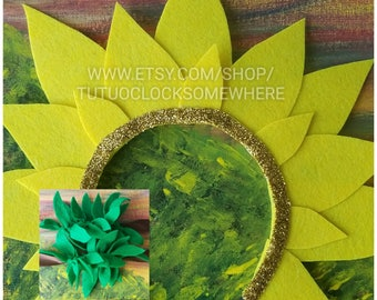 Handmade Sunflower Headband And Cuffs, Sunflower Headband, Flower Headband, Sunflower Accessory, Sunflower Costume, Sunflower Tutu Dress