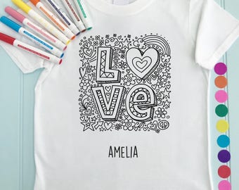 Girls Tee Shirt Personalised Love Colour in Design Doodle Colouring in Art Fabric Pens T-Shirts Fun Activity for Kids