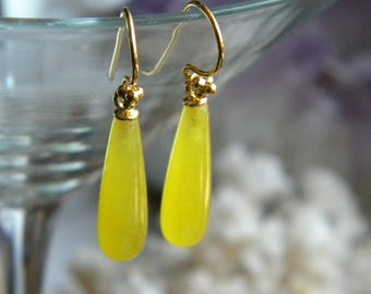 Canary Yellow Dyed Quartzite Briolette Earrings,  Teardrop Earrings, Vermeil  Ear Wires, KarenWolfeCreations, Women's Earrings, Gift Boxed