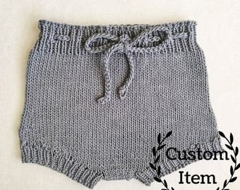 Knit Baby Shorties - Cotton / Knit Diaper Cover / Knitted Bloomers /