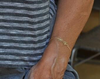 Solid Gold Bracelet, 14k Gold Chain Bracelet, Link Bracelet For a Daughter, Bracelet For A Woman, Solid Gold Link,  Fine Jewelry Gift
