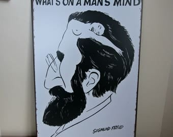 Sigmund Freud Metal Wall Sign Vintage Replica Reproduction What's on a Mans Mind Optical Illusion