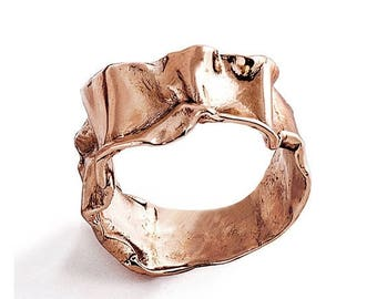 SALE 20% Off - CRUMPLED Rose Gold Ring, Statement Ring, Unique Wedding Band, Women's Rose Gold Wedding Band, Alternative Wedding Band