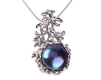 CORAL Black Pearl Necklace, Silver Pearl Necklace,  Unique Black Pearl Pendant, Bridal Pearl Necklace, Alternative Wedding