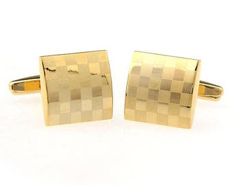 Checkerboard Cufflinks for French Cuffs, 18K gold plated