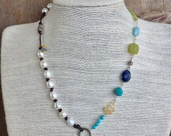 Flower Mary Religious Medal with wirewrapped Gemstone and hand knotted freshwater pearls on leather Necklace