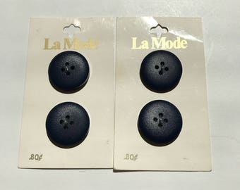 Lot of 2  Vintage La Mode Holland Navy  Blue Buttons on Original Cards