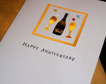 Handmade Happy Anniversary Greeting Card, Say Cheers with a glass.