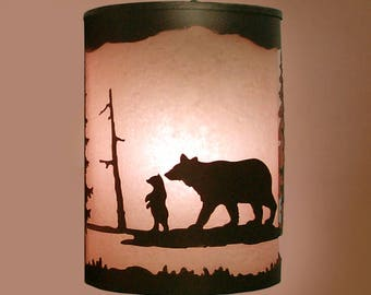 Rustic Light Bear Wall Sconce Lamp Cabin Decor Pine Tree Lighting Left Facing
