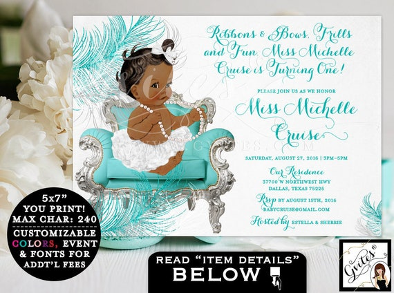 First BIRTHDAY invitations, African American ribbons bows, diamonds pearls, baby girl, silver white turquoise blue, baby 1st invitations.
