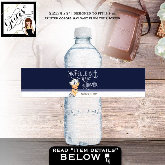 "Nautical Water Bottle Labels, baby shower boy, customizable label, little sailor stickers bottle wrapper. PRINTABLE 8x2""/5 Per Sheet."
