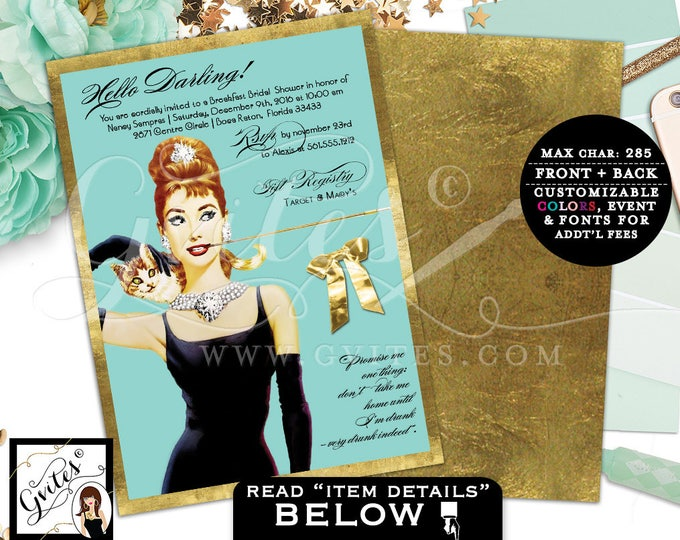 Bridal shower Invitations, Audrey party themed inspired invites, personalized invitation, double sided 5x7