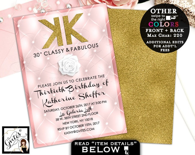 Coco Chanel Invitations, 30th birthday party, fashion designer invites, pink and gold, any birthday, glitz and glam, double sided 5x7.