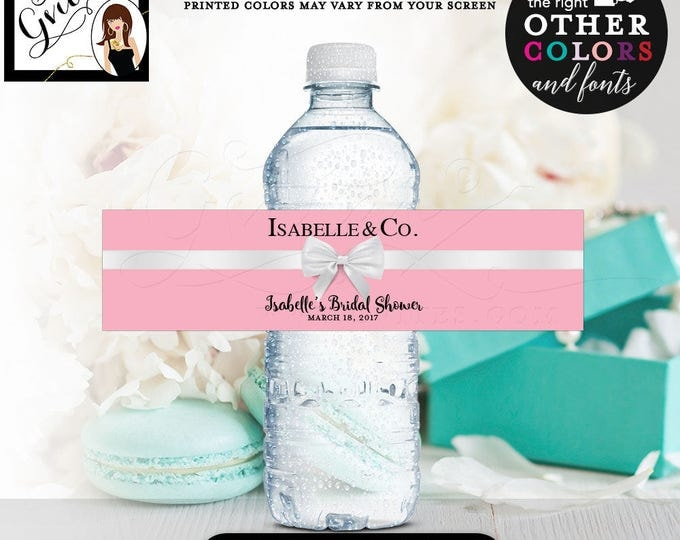 """Bride and Co bridal shower, water bottle labels, breakfast at water bottle party decor, favors, gifts, blue, pink printable 8x2""""/5 Per Sheet"""