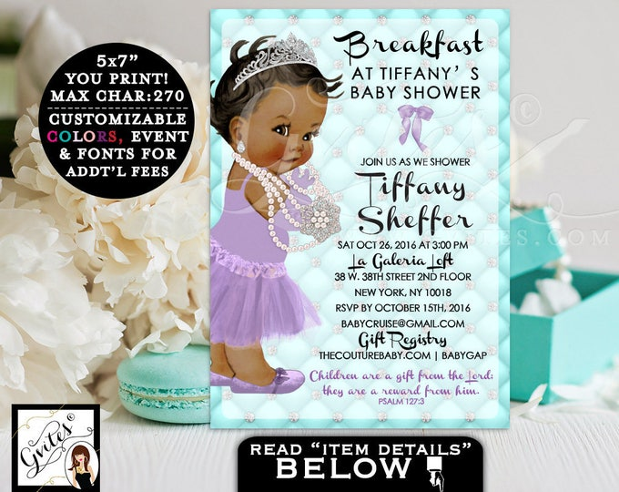 Purple and Turquoise Baby Shower Invitation Breakfast princess breakfast at baby girl, African American tutus tiara pearls, PRINTABLE 5x7