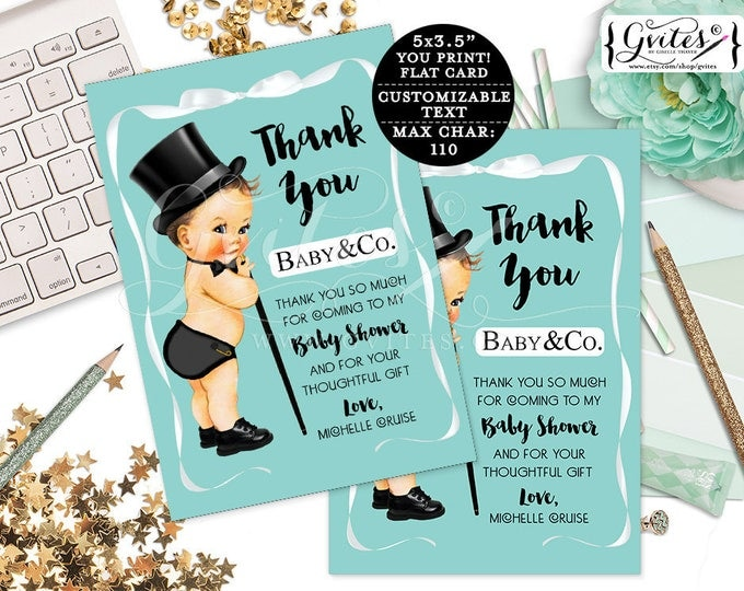 """Baby & Co Baby Shower thank you cards, printable thank you personalized baby boy template blue white bow top hat. {3.5x5"""" 4 Per/Sheet}"""