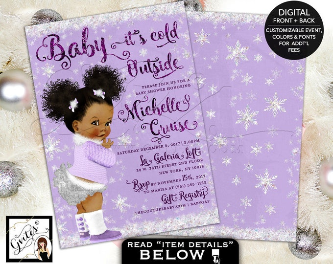 Baby it's Cold Outside Invitations, Baby Shower Winter Wonderland, African American afro puffs, baby girl lavender white, 5x7 double sided.