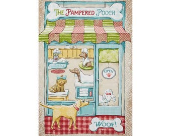 Pampered pooch dog groomer fabric panel; Quilting Cotton [[fabric panel//by the yard]]