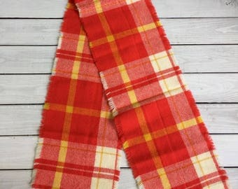 Vintage Plaid Wool Scarf Bright Red Yellow White 60s Lightweight Groovy Fringed