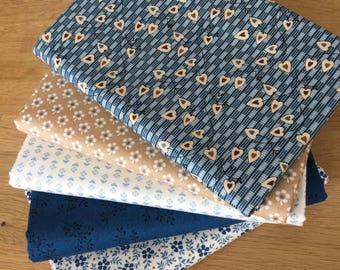 Blue Sky Quilting Fat Quarter Bundle F by Makower Floral Fabrics