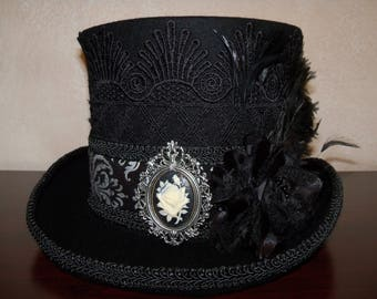 Steampunk hat, Steampunk Top Hat, Black Top Hat, Victorian Riding Hat, Victorian Top Hat, Top Hat, Grey Ghost Toppers, Cosplay Hat