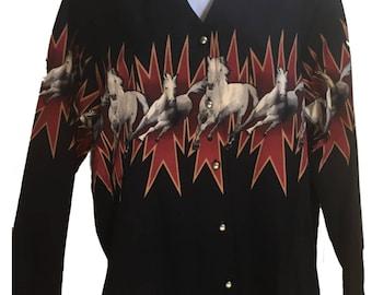 Vintage Roper Black Western Shirt Galloping Wild Horses Woman's sz L Rodeo