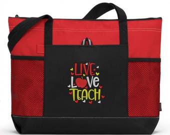 Teacher Tote Bag/ Teacher Appreciation/ Teacher Gift/ Embroidered Live Love Teach Teacher Tote Bag/ Teacher Thank you