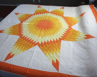 Vintage Antique Texas Lone Star Quilt Burst of Citrus Amazing Colors