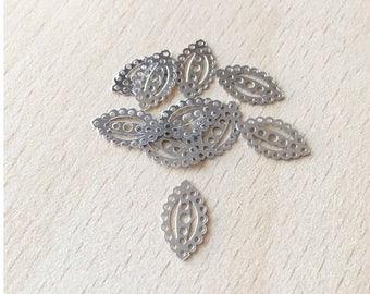 beautiful sequin silver filigree oval