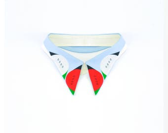 Summertime Happiness / Detachable Hand-printed Collar / Illustration Emil Wikström / Classic spread-collar necklace
