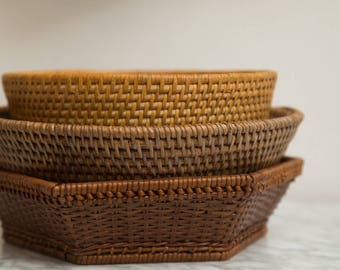 Rattan Wicker Baskets - Set of 3 Vintage Fruit and Vegetable Woven Basket - Hand Woven Rustic Folk Decor Mid Century Modern  Minimalist