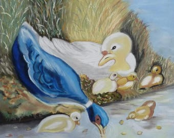The pond ducks table to the wall Decoration Pastel