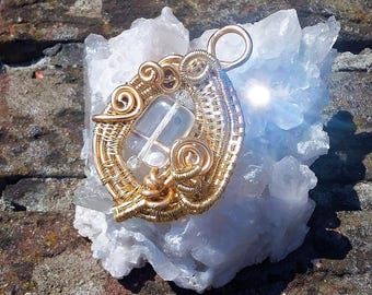 Swarowski in Gold Wire Pendant