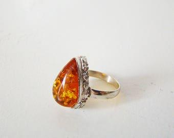 Vintage Amber Sterling Silver Ring Art Nouveau Vintage 925 Sterling Silver Amber Ring, Size 8