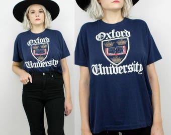80s Oxford University T Shirt, Vintage T Shirt, Mens Medium, Large, Extra Large England,