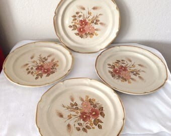 Set of (4) VINTAGE Dinner Plates Sunmarc Endura Collection FESTIVE Stoneware  SM--6669 Japan Floral