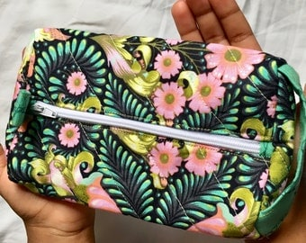 Cosmetic Floral Turtle Zipper Pouch