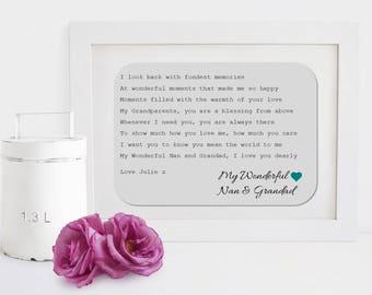 Personalised Nan & Grandad Framed Poem