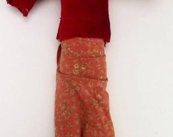 vintage collectible, 80s vintage doll, miniature cloth doll, American Indian doll, Navajo tribal doll, Dine folk art doll, handmade doll