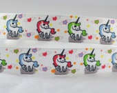 "Unicorn Colorful Mini Printed Grosgrain Ribbon 5/8"" or 7/8"" wide UC1015"