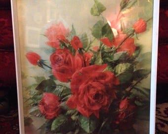 Vintage Vernon Ward Framed Print Red Roses