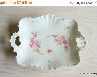 50% OFF Antique cake plate with pink roses, romantic serving platter, rococo porcelain dish