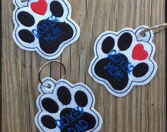 Boxer Mom/Mum/Dad - Snap Tab and Eyelet Versions INCLUDED - In The Hoop - Snap/Rivet Key Fob - DIGITAL Embroidery Design